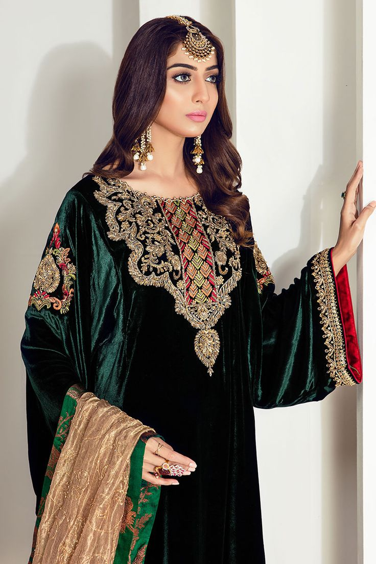 Stylish Shirt Wallpaper Green Opulence Velvet Pakistani Dress Velvet Dress
