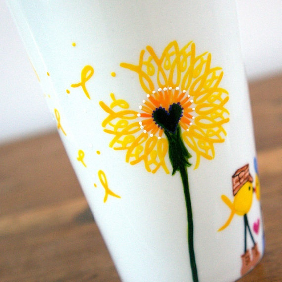 Yellow Ribbon Dandelion Travel Mug  Support Our Troops by v2vozart, $24.00