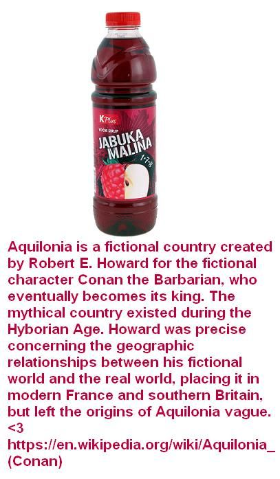 Aquilonia is a fictional country created by Robert E. Howard for the fictional character Conan the Barbarian, who eventually becomes its king. The mythical country existed during the Hyborian Age. Howard was precise concerning the geographic relationships between his fictional world and the real world, placing it in modern France and southern Britain, but left the origins of Aquilonia vague. <3 https://en.wikipedia.org/wiki/Aquilonia_(Conan)