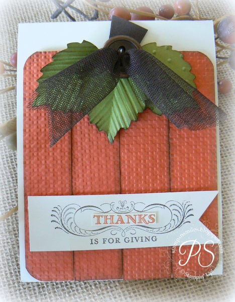 Thanksgiving Embossed Pumpkin Card...SU.  Picture only for inspiration.