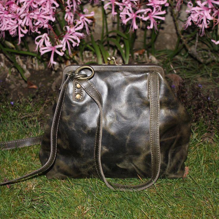 Maya half black scrunchy leather bag by Odilynch