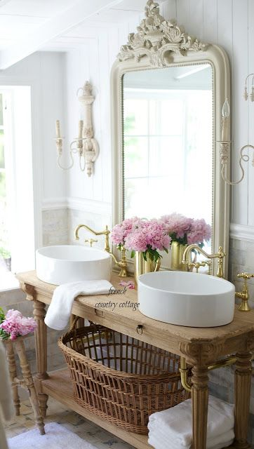 Love the Gold bridge facuets and white simple vessels! french country cottage bathroom