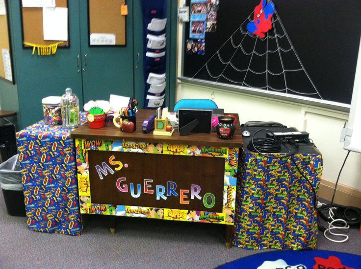 Super hero theme teacher's desk area