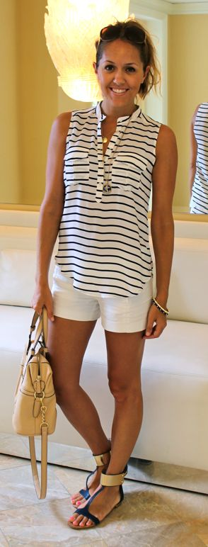 Classic striped button up and white shorts.