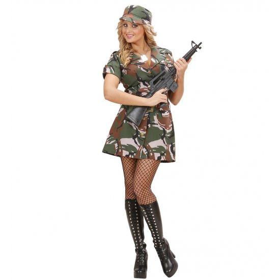 Soldaten jurkje dames. Dit soldaten jurkje voor dames bestaat uit een jurkje met legerprint en is gemaakt van katoen. Dit leger jurkje met korte mouwen is inclusief riem en petje.