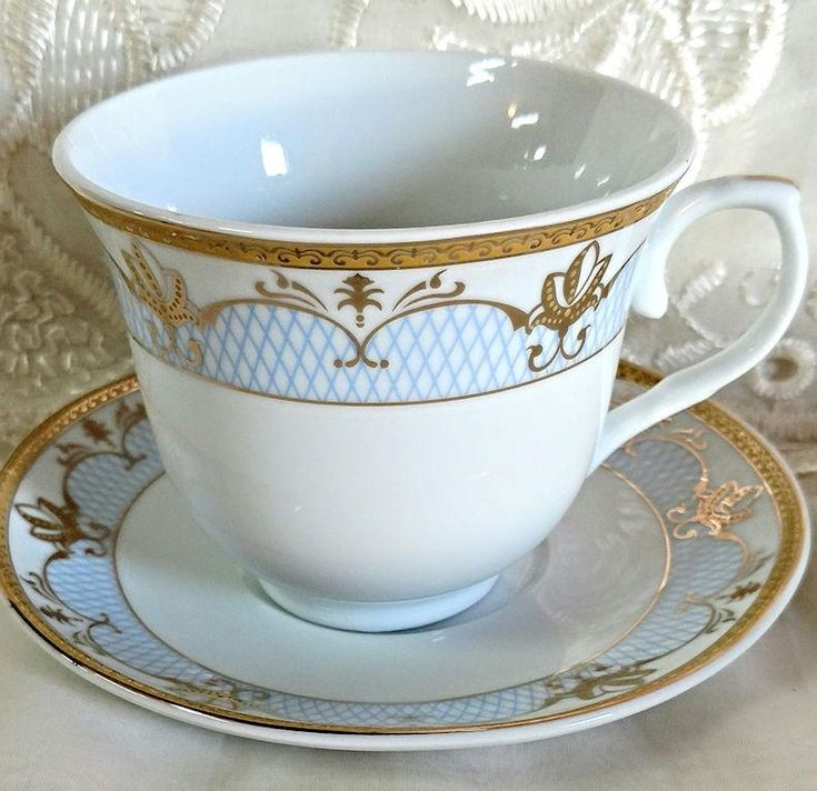 Cassandra Gold and Pale Blue Wholesale Tea Cup and Saucer