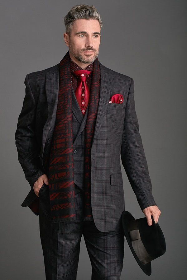 Steven Land Walter Charcoal Grey Burgundy Plaid 3 Piece Suit WALTER-SL77-103