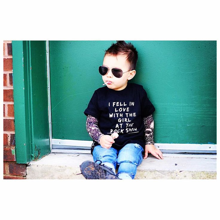 """Little Wonderland Clothing on Instagram: """"Hello..Monday! If you want a little toddler swag..Here is some toddler swag! Jaxson looking mighty fly with our """"Feel in Love with the girl at the Rock Show"""" tee <top fav>❤️ Tattoo under tee @littlemisfits_ca + distress denim @farmfreshdenim + shades @fjs_popshop  These Boys!!!❤️ Swoon Away✌️ styles #trendy_tots #igkiddies #kidfashion #weekleyoutfitter #toddlerfashion #baby #hipster #hipkids #photooftheday #hipsterkidstyles #hip #streetwear"""