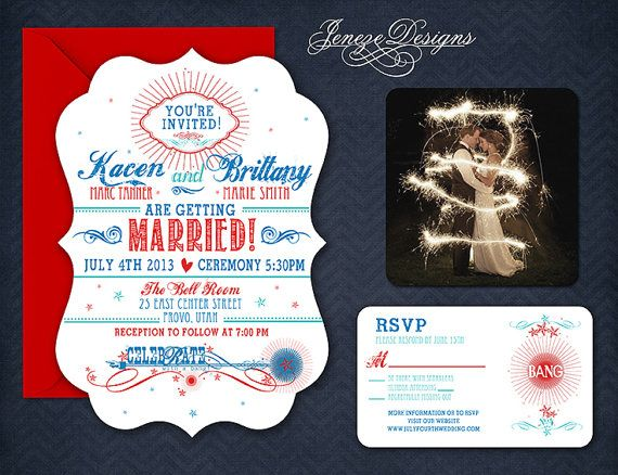 Fireworks Wedding Invitation.. 4th of July Wedding Invitation! #AffairsbyBrittany Call 218-847-3788 for your appointment. contact@affairsbybrit…