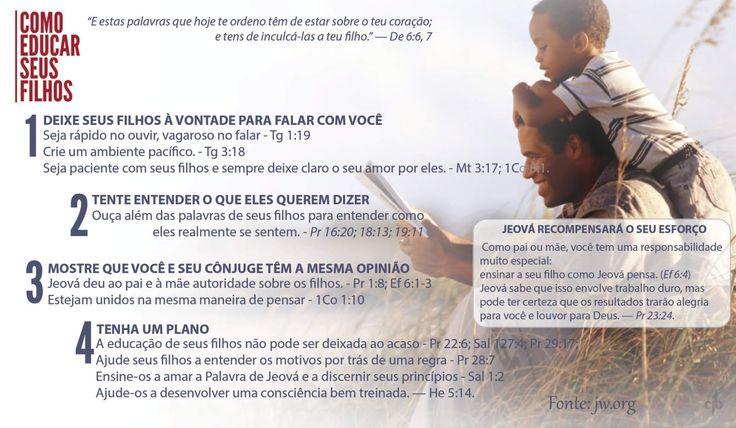 Como pai ou mãe, você tem uma responsabilidade muito especial: ensinar a seu filho como Jeová pensa. (Efésios 6:4) Jeová sabe que isso envolve trabalho duro, mas pode ter certeza que os resultados trarão alegria para você e louvor para Deus. — Provérbios 23:24.