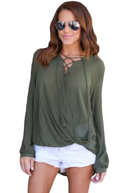 Bamboo Lace up Blouse