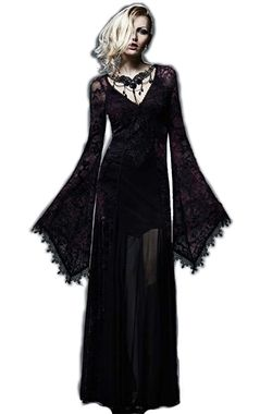 This striking full length dress is made from beautiful purple and pink 'burnt out' velvet mesh at the sleeves and sides while the main body is layered black mesh.  An extremely detailed traditional gothic dress