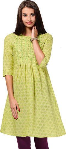 Printed Cotton Lemon Kurta - Folklore Kurtas & kurtis for women | buy women kurtas and kurtis online in indium