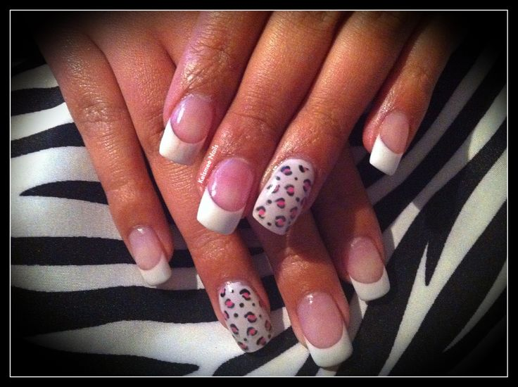 Young Nails acrylic french manicure Leopard print | Nail Art Community