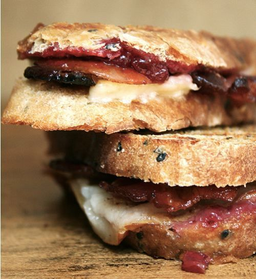 Bacon, Cheddar, and Pear Panini Would be good with Brie or blue cheese instead of cheddar also!