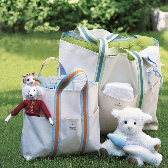 Récup : des cabas en toile de bâche pour bébé - couture bébé - Marie Claire Idées