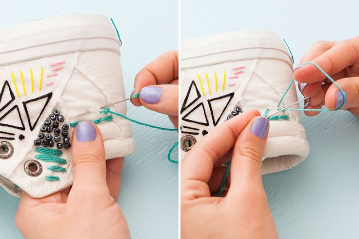 Forget the Hoop! Embroider White Canvas Sneakers for Spring via Brit + Co