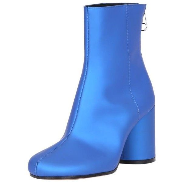 Maison Margiela Satin ankle boots (3.600 RON) ❤ liked on Polyvore featuring shoes, boots, ankle booties, blue bootie, blue ankle boots, zipper bootie, zipper booties and blue zipper boots