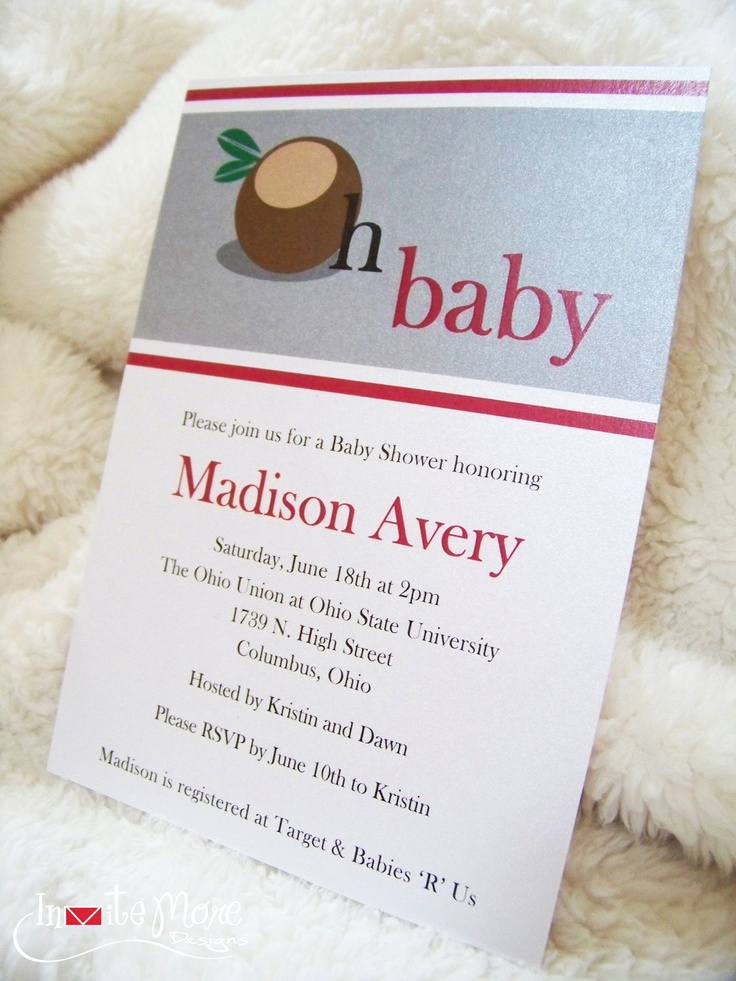 Ohio State Buckeye Baby Shower Invitations. $2.00, via Etsy.