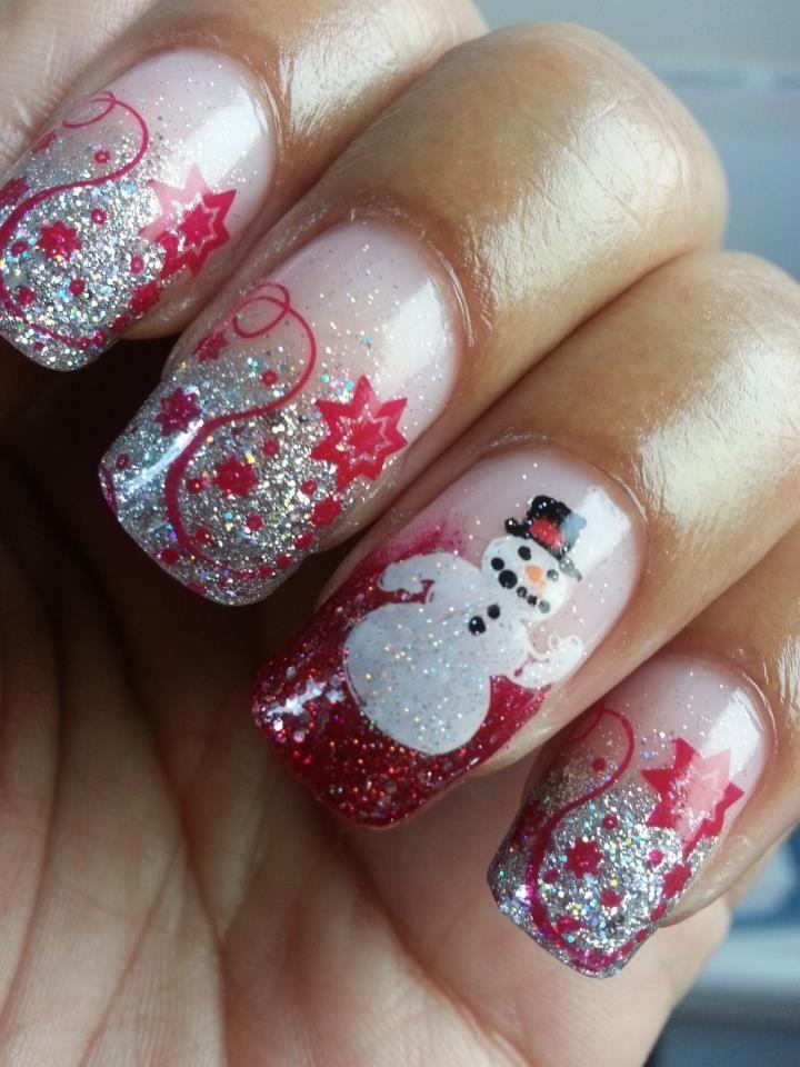 2014 Christmas spirit nail art: Snowman 2014 Chrismas ~ fixstik.com Nail Art Inspiration