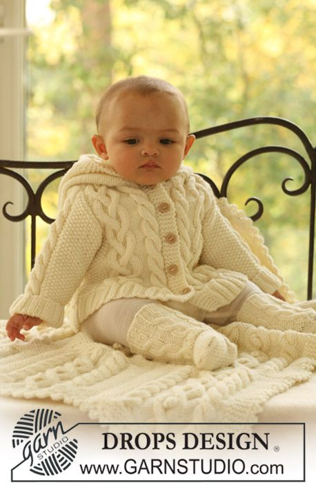 "BabyDROPS 17-2 - DROPS jacket, socks and blanket in ""Merino Extra Fine"". - Free pattern by DROPS Design"