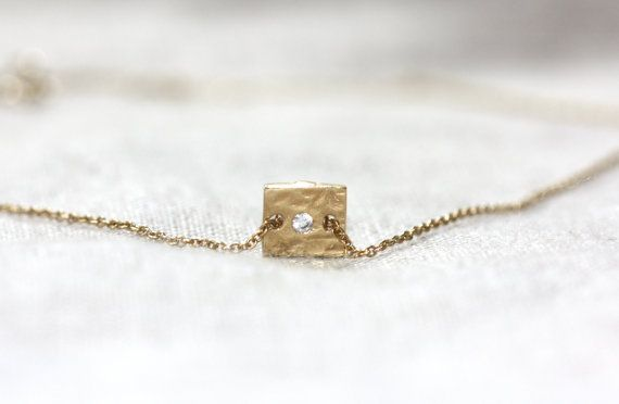 Rectangle Charm Necklace / Gold Charm Necklace by WildAboutFrank
