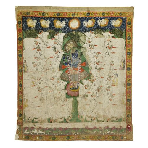 Krishna As Nath-Ji Fluting To The Cows And Gopis Pichwai Temple Painting