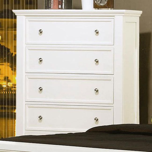 This beautiful chest of drawers will add a touch of sophisticated style to your master bedroom. The piece features clean lines and classic molding. Plentiful storage makes this piece functional too, with five spacious fully extending drawers to meet all of your bedroom storage needs. This simple chest of drawers is available in White finsih to complement your decor, accented with simple silver tone knobs for the perfect touch of shine. Add this chest to your bedroom for a calming ensemble…