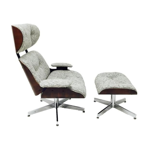 Mid century eames style lounge chair and ottoman by Selig with chrome bases. Newly upholstered in a grey/silver thick tweed. The wood and base have some age app