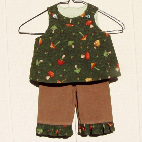 2 pc infant set pants set Acorns and Toadstools  by ArtsyCrafty, $22.50: Sets Pants, Pants Sets, Infants Sets, Sets Acorn