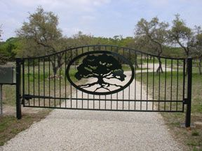Custom Iron Driveway Gates Canyon Lake, Texas, San Antonio, Austin, Hill Country, Central Texas, Solar Automatic Gate Operators, Electric Gate Openers, Ranch Style Gates.