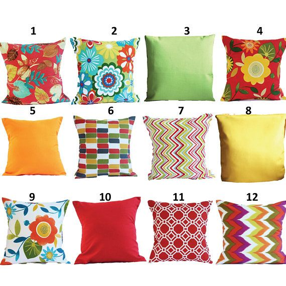OUTDOOR Pillow Covers Orange Pillow Cases, Yellow Pillow, Red Pillow,  Pillows Decorative Pillows 18x18, 16X16, 14x14, 12x12, 10x10