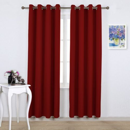 burgundy red thermal insulated blackout curtains