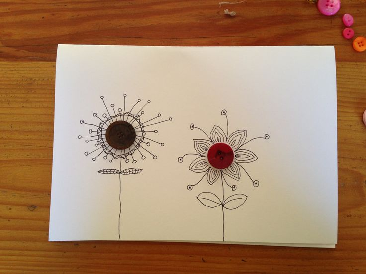 Button flowers - card - by Tiffany