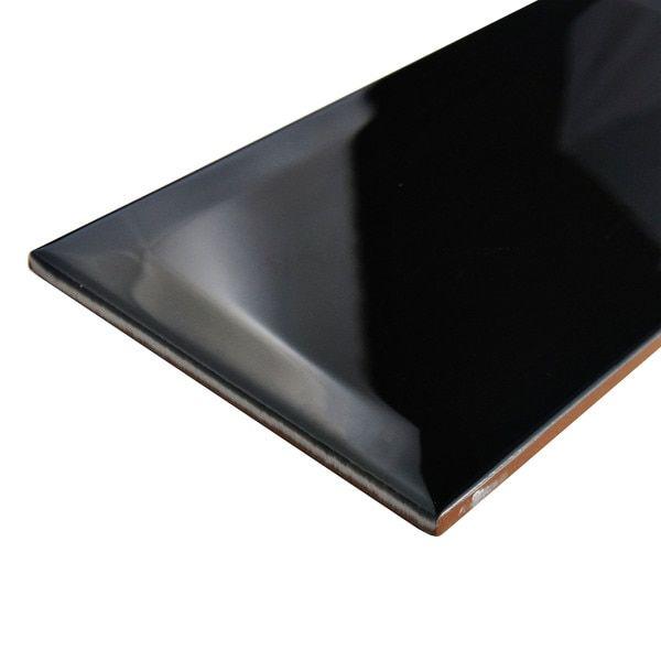 SomerTile 4x8-inch Thera Biselado Nero Ceramic Wall Tile (Case of 50)