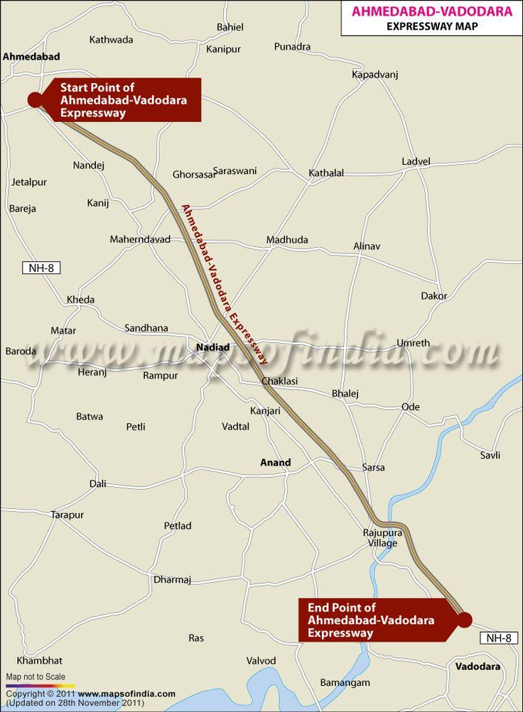 #Map of Ahmedabad Vadodara Expressway