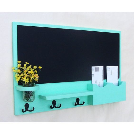 Mail Organizer - Chalkboard Mail Organizer. Maybe Shaun could make one of these for my dining room. We have an ugly phone jack that needs to be hidden on a big blank wall. This would be perfect to hang over it!