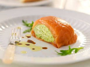 Smoked Salmon filled with avocado mousse served with toast