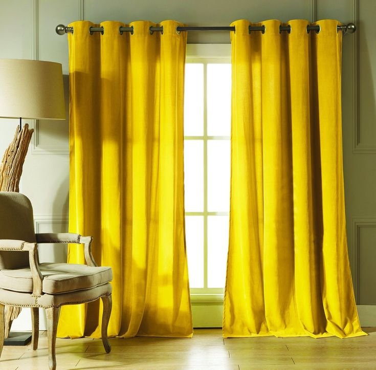 Chambre jaune moutarde les coloris associer clemaroundthecorner ridea - Rideau jaune moutarde ...