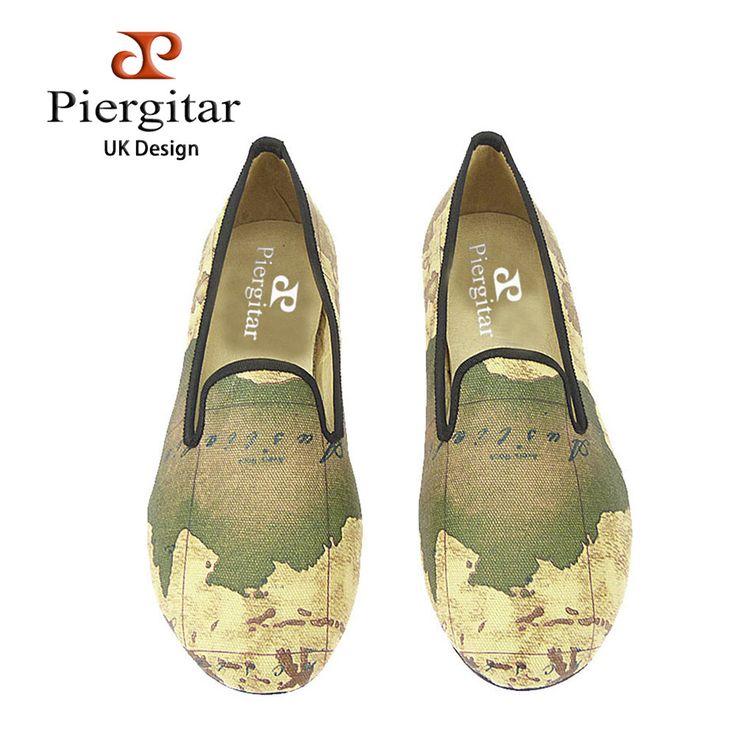 Cheap PIERGITAR nuovo artigianato donne scarpe in tessuto con mappa del mondo stampa stile britannico femminili pistoni casuali moda donna mocassini, Compro Qualità Scarpe casual da uomo direttamente da fornitori della Cina: