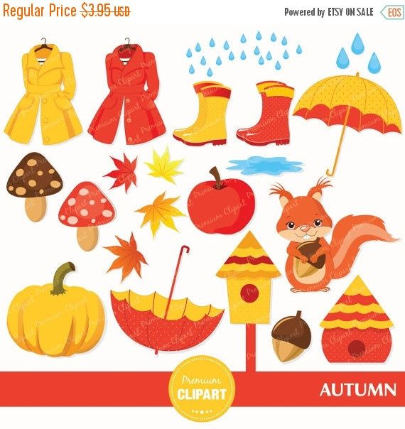 70% OFF SALE Fall clipart, Autumn clipart, Fashion clipart, Rain clipart, Weather clipart, Umbrella clipart - CA201 by PremiumClipart on Etsy
