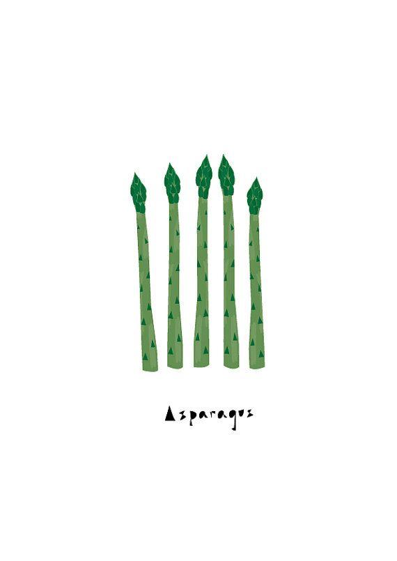 Asparagus Art print, Pattern, Harvest, Geometry, Vegetable, Fruit Print, Drawings, Illustration, Decorative art, Kitchen Art, Botanical Art