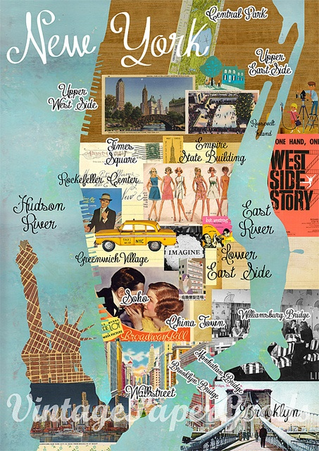 Vintage New York City Map Collage poster print on wooden background, wall art | Flickr - Photo Sharing!