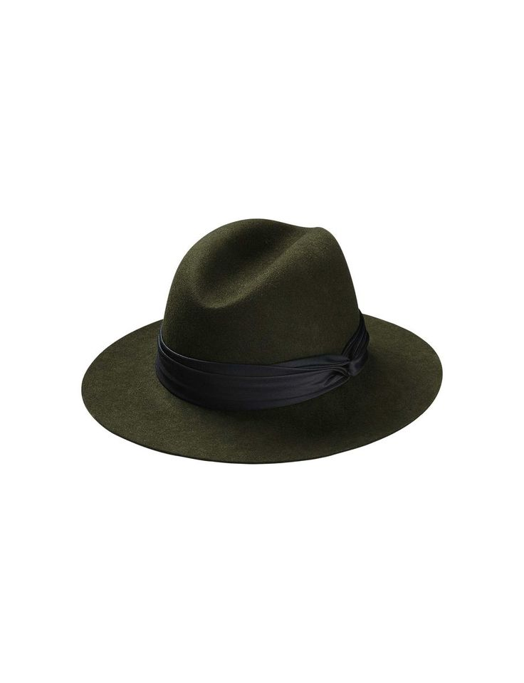 Giulina hat-Women's classic hat in wool felt. Features draped fabric around base of crown. Grosgrain at inside of crown. (Olive)