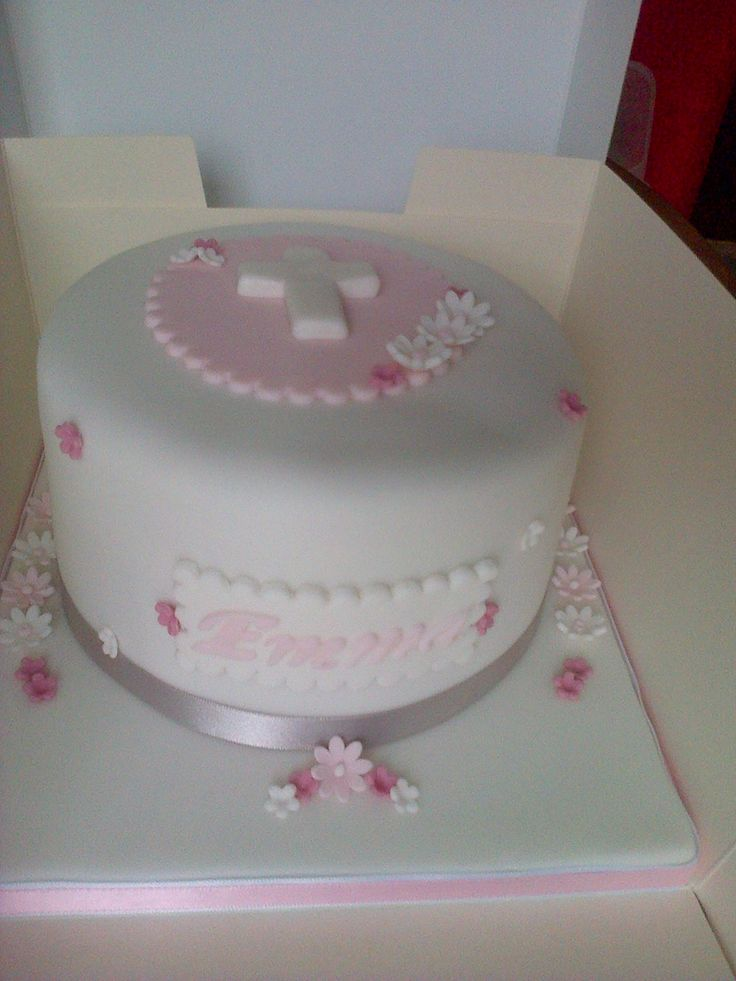 Pink Amp White Confirmation Cake Christening Holy