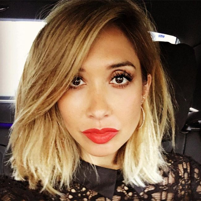 Myleene Klass debuted a striking new blonde hairstyle at the Absolutely Fabulous…