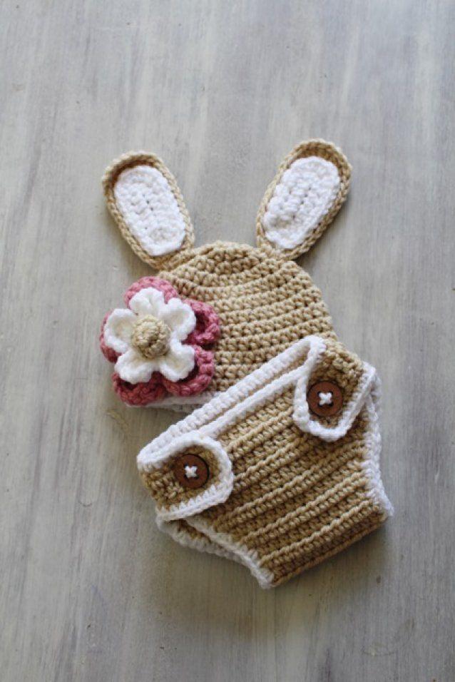 Newborn Bunny Beanie & Diaper Cover Set by Twiggy Crochet Adorable newborn photography props.