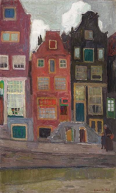 Gustaaf De Smet (1877 -1943) Toen de Eerste Wereldoorlog uitbrak, week Gustave met zijn gezin en zijn vriend Frits Van den Berghe uit naar Nederland. In Nederland leerde hij zowel het Duitse als het Hollandse expressionisme kennen. In 1922 keerde hij naar België terug. Zijn expressionisme, met de eigen kubistische inslag, had op dat moment een hoogtepunt bereikt, met zijn circus- en kermistaferelen.