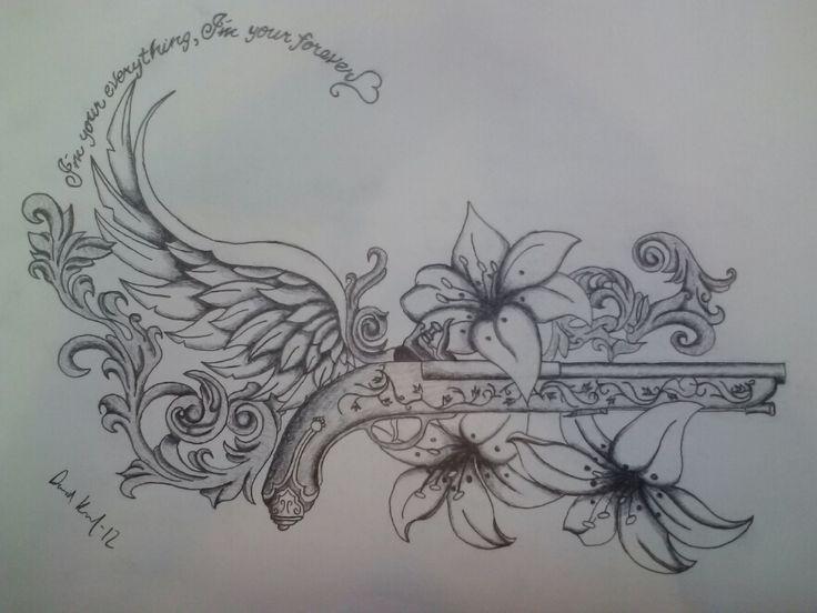 Old pistol gun tattoo Original by DisturbdDragon