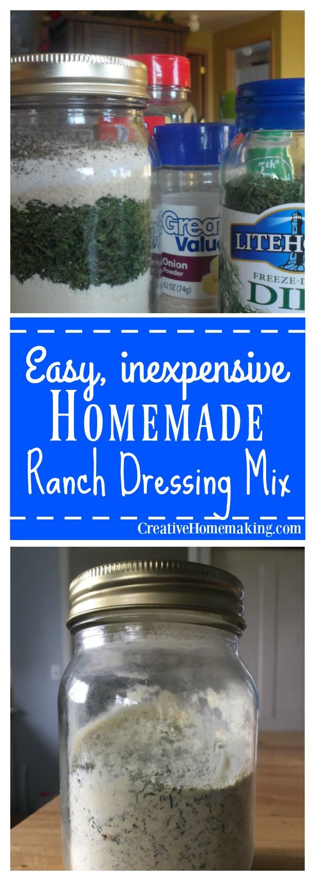 Easy homemade version of Hidden Valley ranch dressing mix. Can be used to make salad dressing or dip.